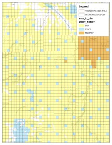 Public Lands in southern Idaho illustrating how state lands were dispersed.  (click for larger view)