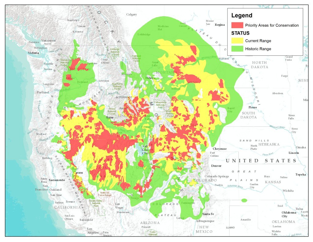 "Sage Grouse Historic, Current, ""Priority Areas for Conservation"""