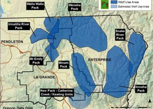 Map of Oregon wolf pack territories. 2013. By Oregon Department of Fish and Wildlife.