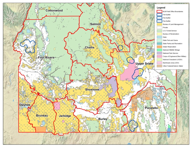 Raven killing areas in Idaho.